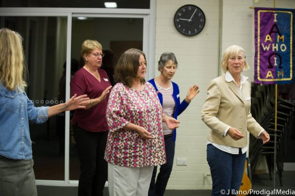 Blessing the community with our Shabbat Shalom line dance.